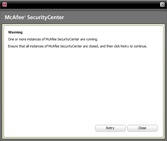 prompt to close McAfee SecurityCentre